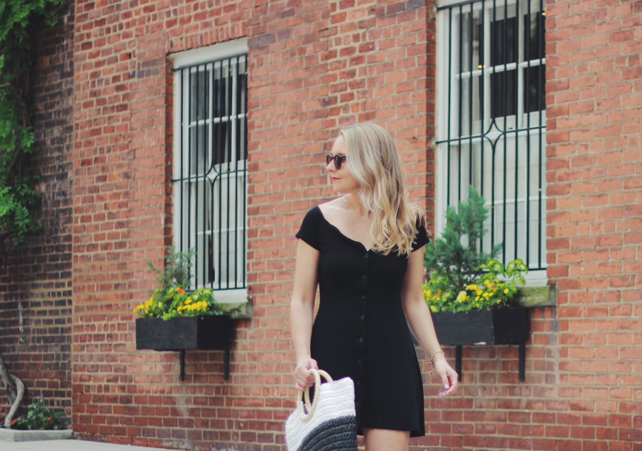 The Steele Maiden: Summer Style - Black Minidress and Straw Tote