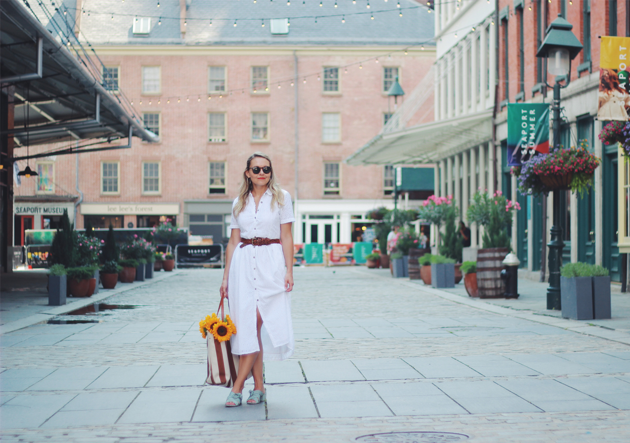 The Steele Maiden: Classic White Shirtdress at South Street Seaport