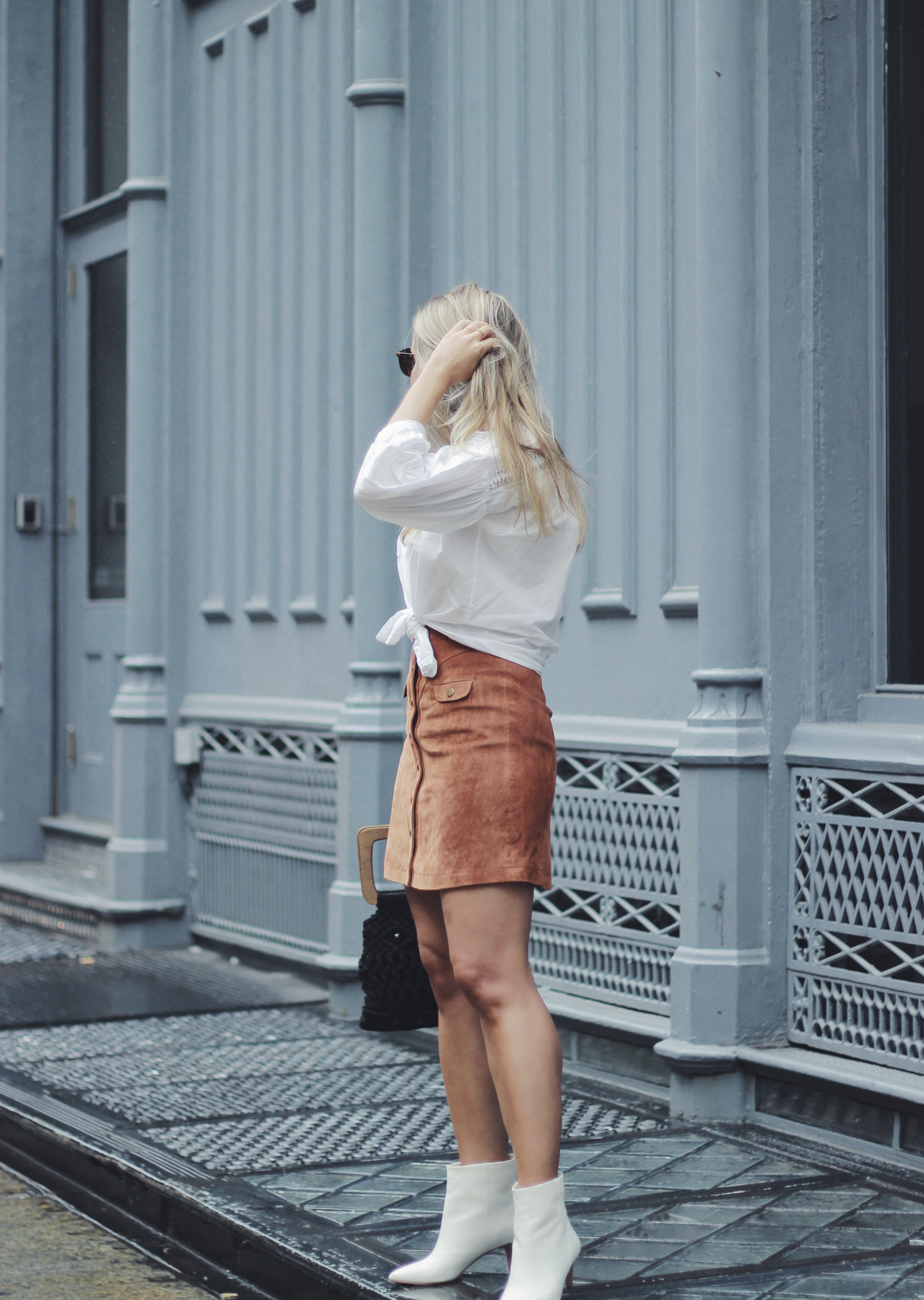 The Steele Maiden: Western Inspired Fall Trend - Suede Skirt and White Booties