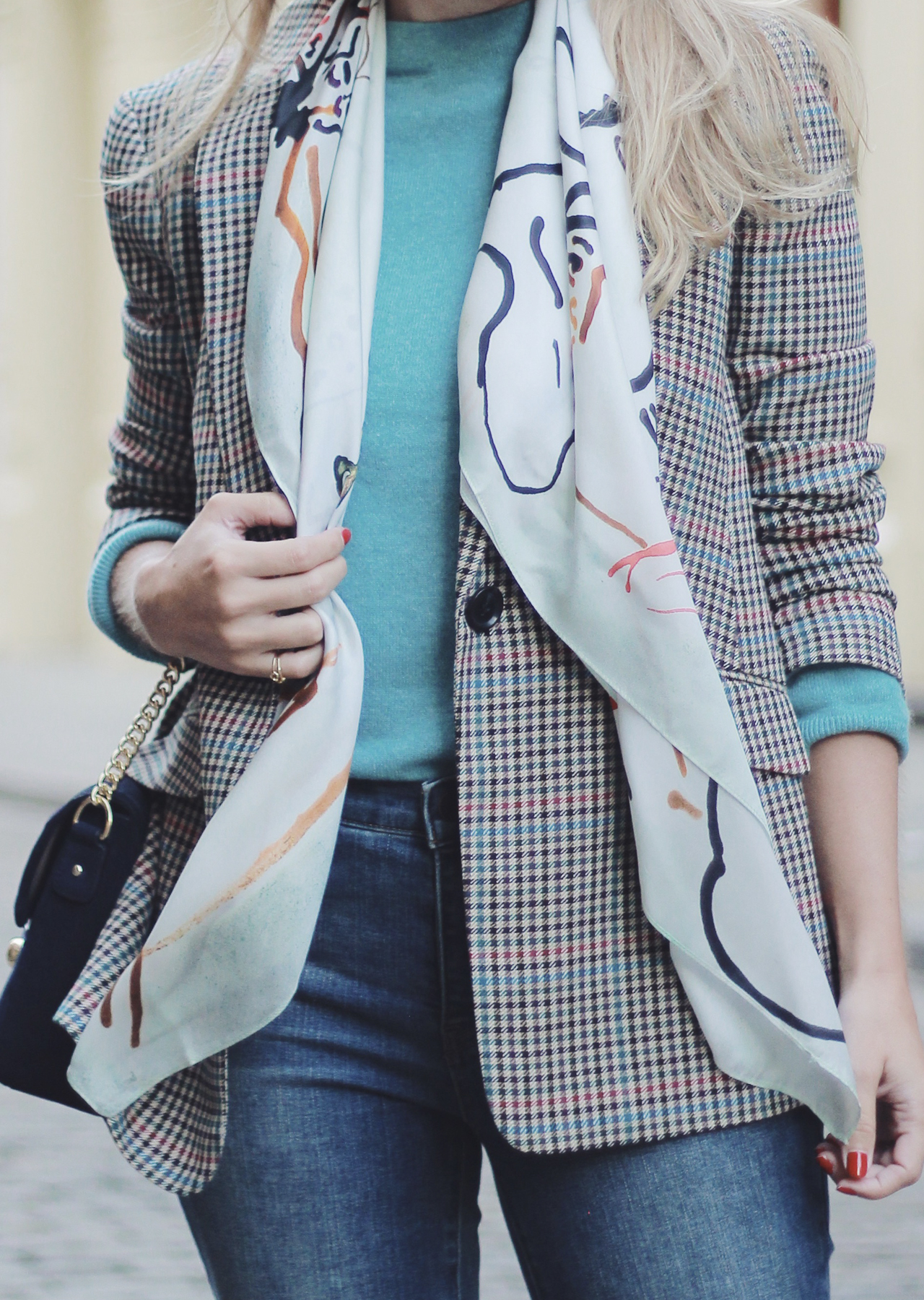 The Steele Maiden Fall Style - Talbots Silk Scarf Plaid Blazer