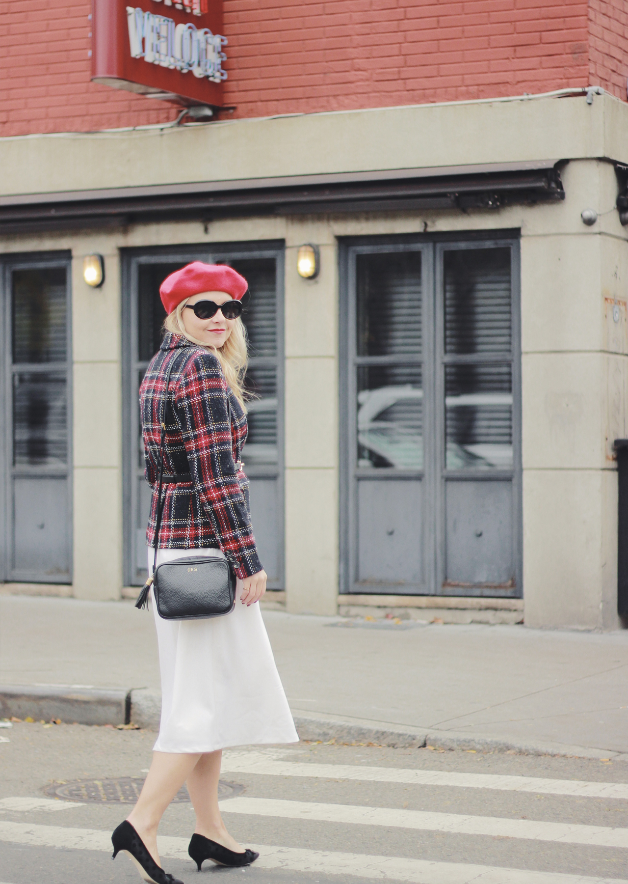 The Steele Maiden: Holiday Style - Red Beret, Plaid Blazer and White Midi Skirt